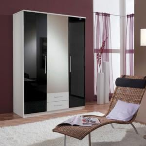 Gastineau Wardrobe In Alpine White With 2 Drawer And Mirror