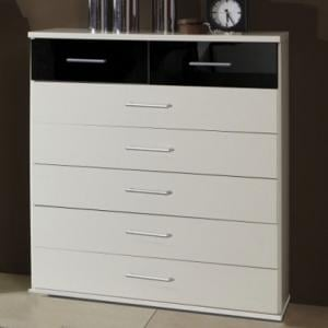 Gastineau Chest Of Drawers In White And Black With 5+2 Drawers