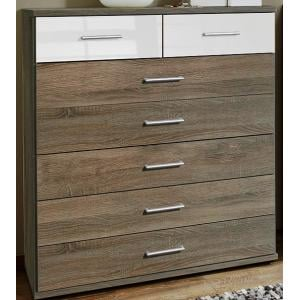 Gastineau 5+2 Drawer Chest In Montana Oak And White