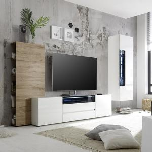 Genie Living Room Set 3 In White High Gloss And Oak With LED