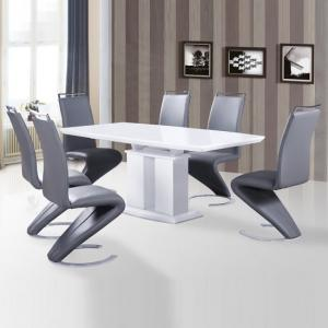 Genisimo Extendable White Dining Table With 6 Summer Grey Chairs