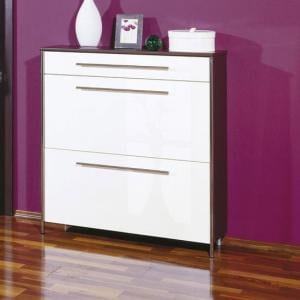 Sandra Shoe Cabinet In Wenge With White Fronts