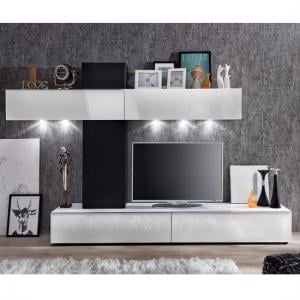 Bremen Living Room Wall Unit In White Gloss And Black With LED