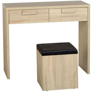 Gambon 2 Drawer Dressing Table With Stool In Sonoma Oak Finish