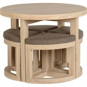 Gambon Stowaway Dining Set In Sonoma Oak Finish