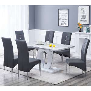 Halo Dining Table In Gloss Magnesia Marble Effect And 6 Vesta Grey Chairs