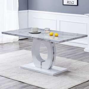 Halo Rectangular Grey Gloss Magnesia Effect Dining Table