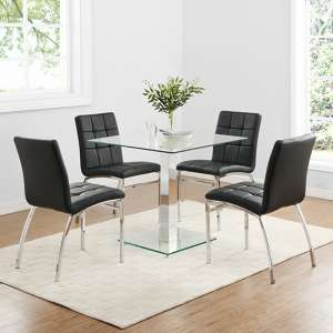 Hartley Glass Bistro Table With 4 Black Coco Chairs