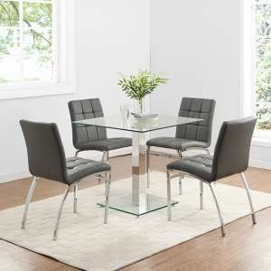 Hartley Glass Bistro Table With 4 Grey Coco Chairs