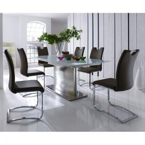 Helio Extendable Glass Dining Table With 6 Koln Brown Chairs