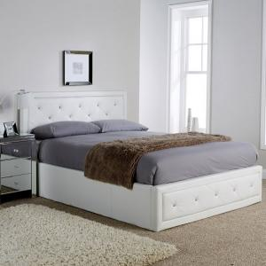 Selena Storage Bed In White Faux Leather With Diamanté