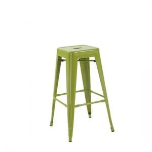 Hoxton Green Metal Finish Vintage Look Stackable Bar Stool