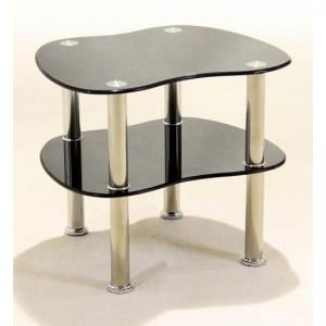 Hudson 2 Tier Black Glass Side Table