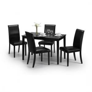 Simister Dining Table In Black With 4 Dining Chairs
