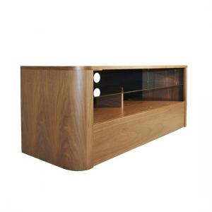 Cardiff Wooden TV Stand In Walnut With Glass Shelf