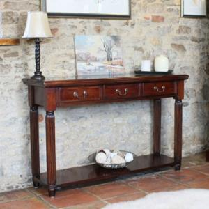 Belarus Console Table In Mahogany With 3 Drawers