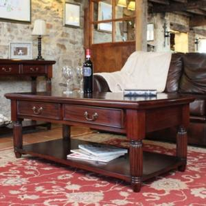 Belarus Coffee Table In Mahogany With 2 Drawers