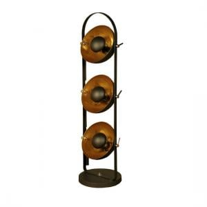 Wilcox Floor Lamp In Sand Black With Gold Inners