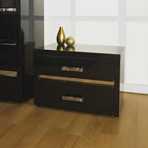 Melissa Black High gloss 2 Drawer Bedside Cabinet