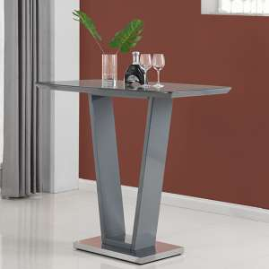 Ilko High Gloss Bar Table In Grey With Stainless Steel Base