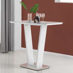 Ilko High Gloss Bar Table In White With Stainless Steel Base