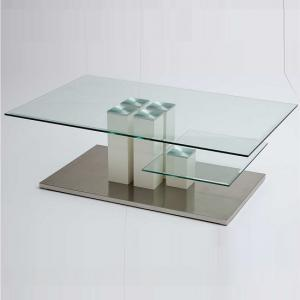 Dover Coffee Table In Clear Glass With Stainless Steel Base