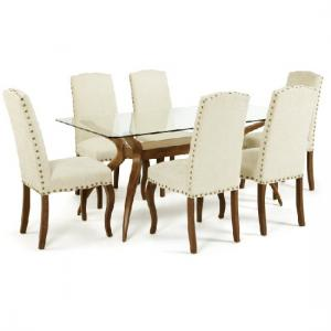 Jenson Glass Dining Table With 6 Madeline Dining Chairs In Pearl