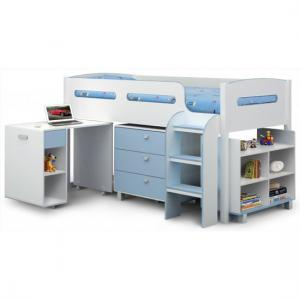 Kimbo Children Cabin Bed In White and Sky Blue