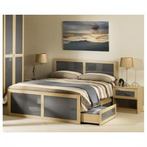 Simo Light Oak Finish Double Bed With Underbed Drawer