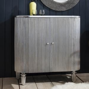 Blarney Bar Cabinet In Grey With Black And Mirrored Interiors