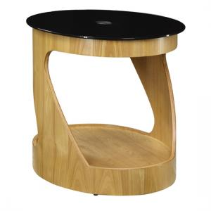 BentWood Side Table Oval In Black Glass Top With Oak Base