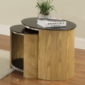 Bentwood Glass Nesting Tables In Oak And Black With Chrome Frame