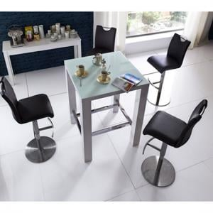 Jam Glass Bar Table in White Gloss With 4 Alesi Black Stool
