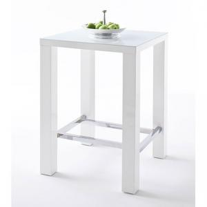 Jam High Bar Table Square In White Gloss And Glass
