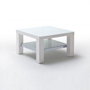 Grimsby Glass Coffee Table Square In White Gloss With Undershelf