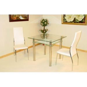 Jazo Clear And Frosted Glass Table And 2 Dining Chairs