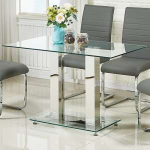 Jet Small Dining Table Rectangular In Clear Glass