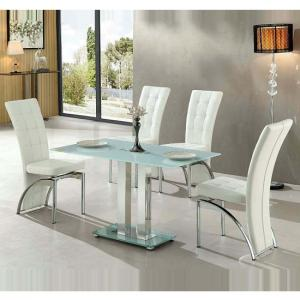 Jet Small White Glass Dining Table With 4 Ravenna White Chairs