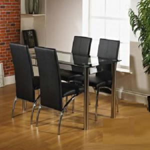Maira Glass Dining Table Set With 4 Aston Dining Chairs