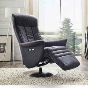 Saltos Relaxing Chair In Black Leather With Stainless Steel Base_2