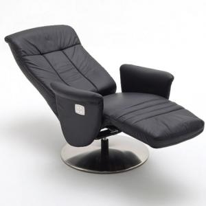 Saltos Relaxing Chair In Black Leather With Stainless Steel Base_5
