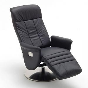 Saltos Relaxing Chair In Black Leather With Stainless Steel Base_4
