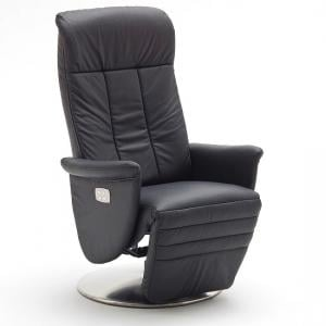 Saltos Relaxing Chair In Black Leather With Stainless Steel Base_3