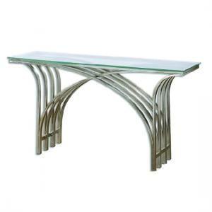 Convent Glass Console Table In Clear With Antique Silver Frame