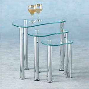 Katerina Clear Glass Nest of 3 Tables With Chrome Legs