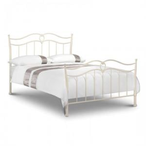 Karina Metal King Size Bed In Stone White Finish