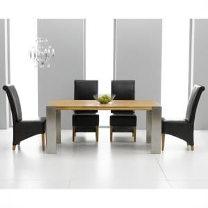 Louis Extending Solid Oak Dining Table And 8 Barcelona Chairs