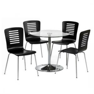 Brent Glass Dining Table With 4 Dining Chairs