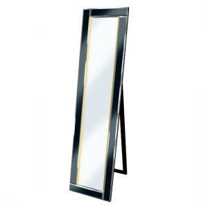 Bevelled Cheval Free Standing Mirror In Black With LED Lights