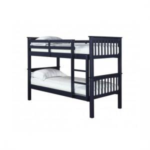 Leno Solid Navy Blue Finish 2 Tier Bunk Bed